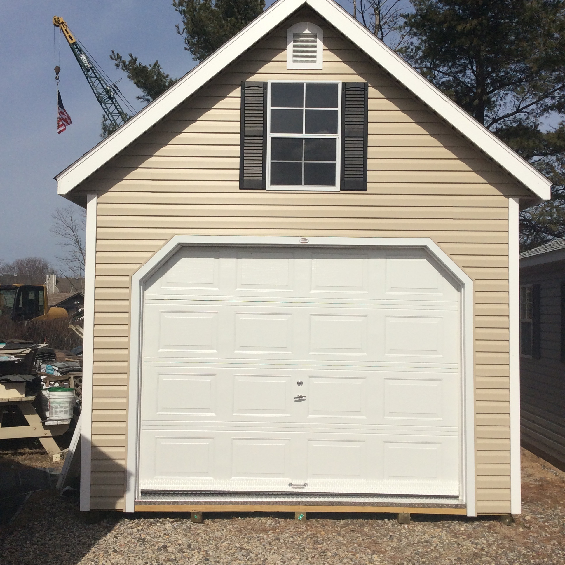 12 X 16 One And A Half Story Vinyl Garage With Almond Siding Loft